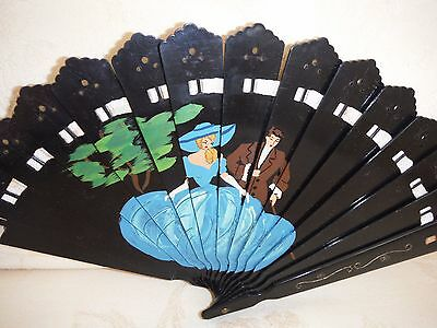 Antique Ladies Brise Hand Fan With Threaded Ribbon  Good Condition Vintage