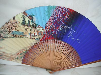 Ladies Vintage Spanish Fan With Decorative Sticks  Very Good Condition