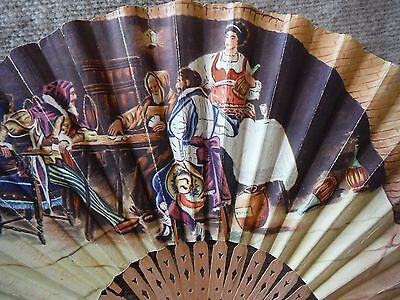Mens Italian  Vintage  Hand Fan, Card Game Design, Rare With Some Damage