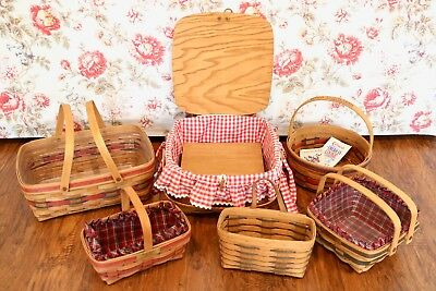 LONGABERGER BASKETS Lot of 6 (Picnic, Crisco Cookie, and Christmas Collections!)