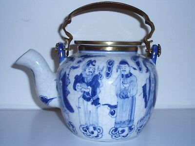 Chinese Nanking Blue and White Porcelain Tea Pot gods wise men clouds