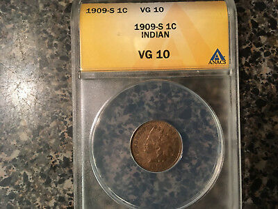 1909-S Indian Cent Anacs Vg-10 Key Date