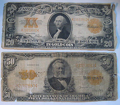 $20 and $50 U.S. Large Gold Certificates