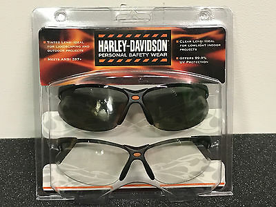 ab01659aabb HARLEY DAVIDSON SAFETY Glasses 2 Pair Set Clear Tinted Sperian Hd-1 ...
