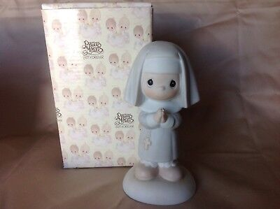 Precious Moments Figurine NUN 12203 Get Into The Habit Of Prayer Olive Mark