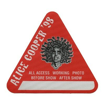 Alice Cooper authentic 1998 Rock N Roll Carnival tour satin Backstage Pass AA