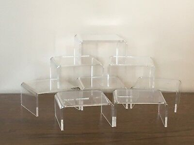 8 Clear Acrylic Riser Display Stands-2.25 inches Tall