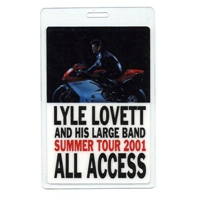 Lyle Lovett authentic 2001 concert tour Laminated Backstage Pass ALL ACCESS