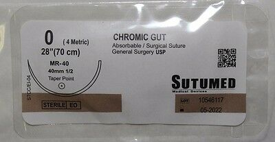 SUTUMED CHROMIC GUT 0, 1/2 40mm needle Surgical Suture