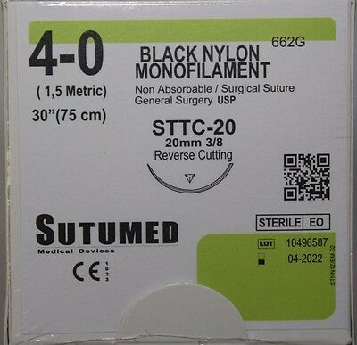 SUTUMED BLACK NYLON MONOFILAMENT 4-0, 3/8 20mm reverse cutting needle Suture