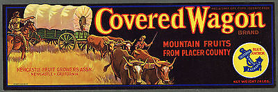 COVERED WAGON Vintage Lug Crate Label, Western Settlers, **AN ORIGINAL LABEL**