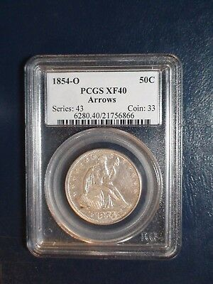 1854 O ARROWS Seated Half PCGS XF40 BETTER DATE 50C Coin PRICED FOR QUICK SALE