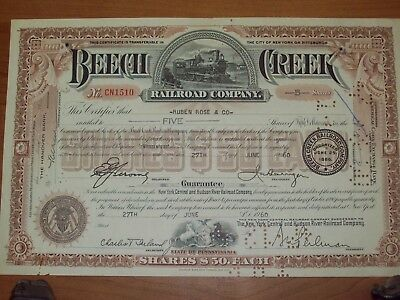 Beech Creek Railroad Company Stock Certificate Pennsylvania