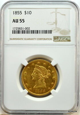 1855 $10 Liberty Gold Eagle  Ngc Au-55   No Motto