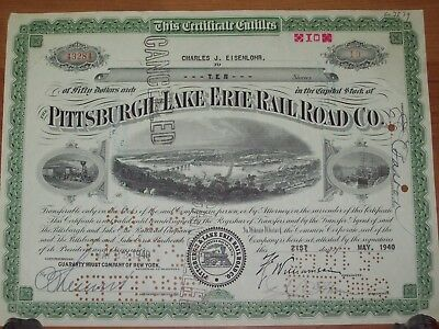 Pittsburgh Lake Erie Railroad Co Stock Certificate- Cancelled 10 Shares