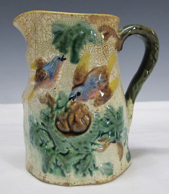 Antique Victorian American Majolica Pottery Bluebird Nest Milk Water Pitcher yqz