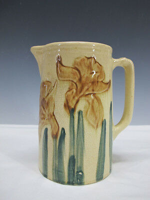 Antique Wheeling Pottery Majolica Daffodil Flower Milk Water Pitcher No 1902 yqz