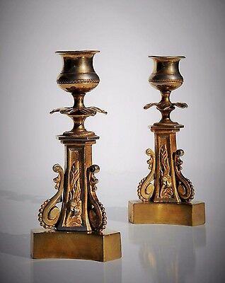 Antique Candlesticks 19th C. Pair, French Empire Style, Tripod Foot, Gilt Ormolu