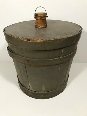Unusual Large 19th C. Painted Gray Staved Wooden Firkin Pantry Box, C. 1850-70