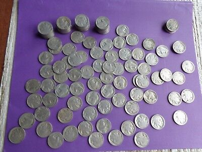 120 Old Buffalo Nickels With No Dates./ poor dates  Collect or for Jewelry
