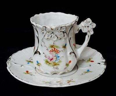 Vintage / Antique Hand Painted Porcelain Demitasse Victorian Childs Cup & Saucer
