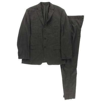 Calvin Klein 6386 Mens Gray Wool 2PC Slim Fit Two-Button Suit 46R 35 BHFO