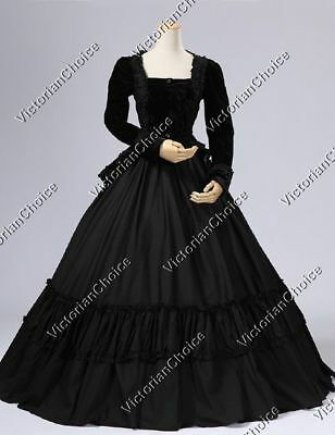 Victorian Civil War Black Dress Ghost Witch Theater Halloween Costume N 134 XL