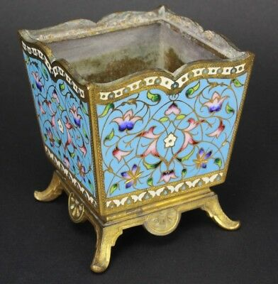 Antique French Bronze Champleve Enamel Floral Butterfly Footed Cache Holder NR