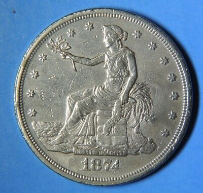 Authentic 1874 CC US Trade Silver One Dollar $1 Carson City Mint
