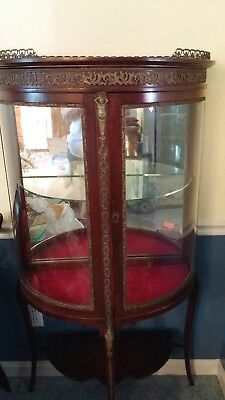 Vintage Antique Curved Glass Curio Cabinet