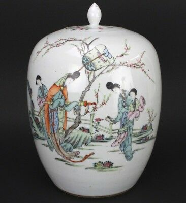 Chinese Export Famille Rose Painted Porcelain Figural Calligraphy Ginger Jar LZO