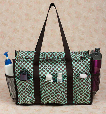 New Oil Cloth Canvas Zip Top Waterproof Organizing Utility Tote Lots of Space