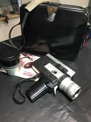 Vintage Canon Auto Zoom 518 Super-8 Movie Camera with Case Lens & Manual As-Is