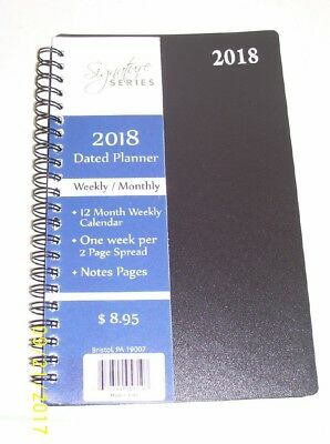 2018 Signature Dated Planner 5X8 Weekly/Monthly Calendar appointment book- Black