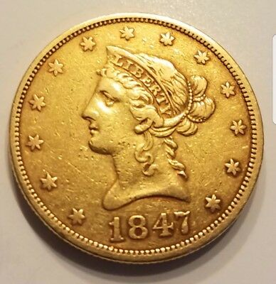 1847 Liberty Head Gold $10 Piece - Good Condition (Regular Strike)