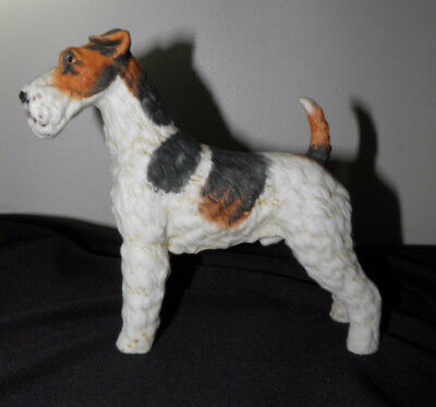"""Fox Terrier Dog Figurine ANDREA BY SADEK  Bisque 6"""" x 6"""" Airedale Vintage"""