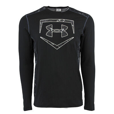 Under Armour Men's Raid Baseball L/S Fitted Tee Black/Camo L