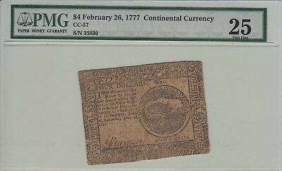 1777 Continental Currency $4 February 26   PMG 25