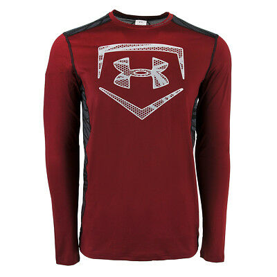 Under Armour Men's Raid Baseball L/S Fitted Tee Maroon/Steel XL