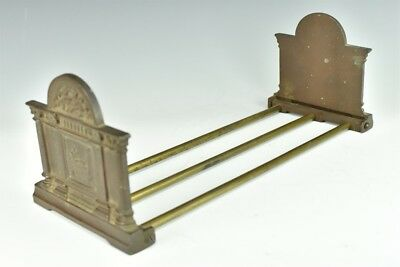 Antique Edwardian Ornate Figural Solid Bronze Expanding Bookends Shelf Rack LSW