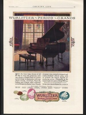 1925 Wurlitzer Period Grand Piano Music Dance Design Period Sound Ad 22713