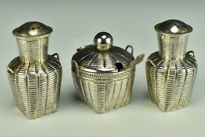 Vintage 3 Piece Sterling Silver Basket Weave Design Salt & Pepper Shaker Dip LSW