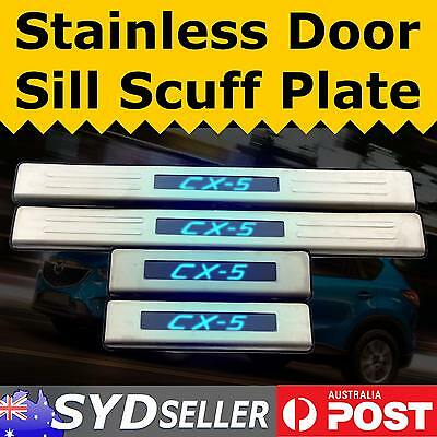 For Mazda CX-5 Blue LED Light Illuminated Door Sill Scuff Step Plate Protector