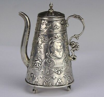 Antique Victorian Ornate Pseudo Hanau Sterling Silver Miniature Teapot NR LSW