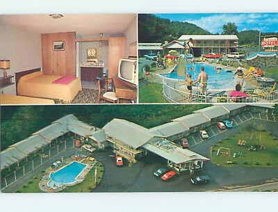 Unused Pre-1980 OLD CARS & VIRGIL'S MOTEL Gatlinburg Tennessee TN M0377