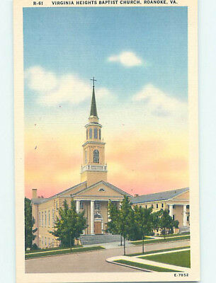 Unused Linen CHURCH SCENE Roanoke Virginia VA L4438