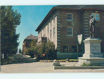Pre-1980 STATUE AT MONTANA COLLEGE OF MINERAL SCIENCE Butte Montana MT L9218