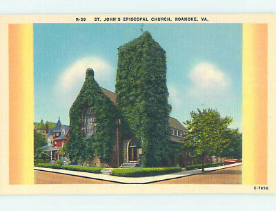 Unused Linen CHURCH SCENE Roanoke Virginia VA L4816