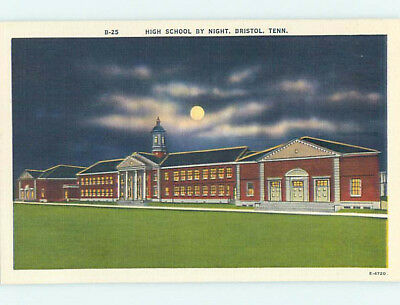 Unused Linen HIGH SCHOOL Bristol Tennessee TN L9987-12