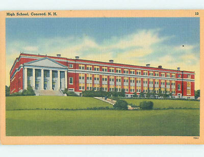 Unused Linen HIGH SCHOOL Concord New Hampshire NH L9836